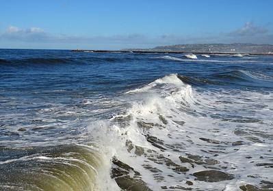 Rolling Surf a Few Feet from Pier