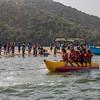 Tourists enjoying water sports at Tarkarli a coastal village on the Konkan coast in south Maharashtra