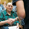 Beacon Hospice and The Atrium at Drum Hill honored their veterans at the facility on Friday Veterans Day. They gave each veteran a pin and a poem to thank them for their service. Getting thanked after getting pinned is Army Technician 5th grade Arthur Dufresne. SUN/JOHN LOVE