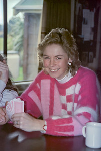 1991 07 183 Janet playing cards at Ohakune Lodge NEG