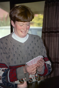 1991 07 183  Josie playing cards at Ohakune Lodge NEG