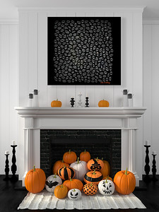 White fireplace decorated with pumpkins for Halloween