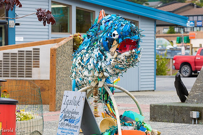 Scutpture made from trash hauled in by the fishermen...