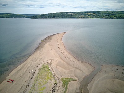 Looking east toward the mouth of Bear River. This is at high tide. At very low tides (a few times a month only) the island can be reached by walking across sandbar (continuation of the point) from Smith's Cove at top right.