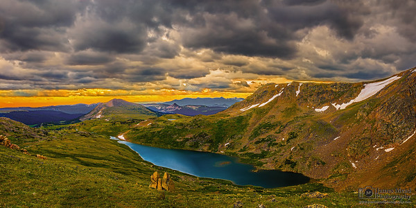 """""""Emerald Jewel,"""" Storms over Gardener Lake at Sunset, Beartooth Mountains, Shoshone National Forest, Wyoming"""