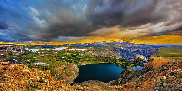 """""""Black Ice,"""" Sunset storm clouds over Twin Lakes, Beartooth Mountains, Shoshone National Forest, Wyoming"""