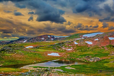 """Sunset over Frozen Lake,"" Beartooth Mountains, Shoshone National Forest, Wyoming"