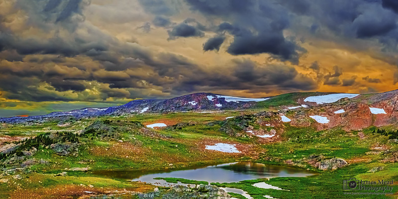 """""""Alpine Solitude,"""" Frozen Lake at Sunset, Beartooth Mountains, Shoshone National Forest, Wyoming"""
