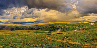 """Hold the Line,"" Storm Clouds on Line Creek Plateau at Sunset, Beartooth Mountains, Montana"