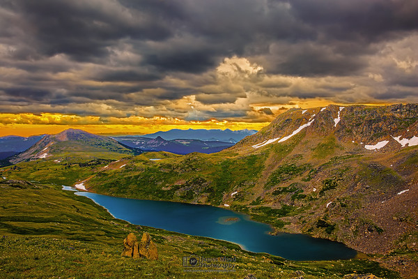 """Sunset Storm over Gardener Lake,"" Shoshone National Forest; Wyoming"