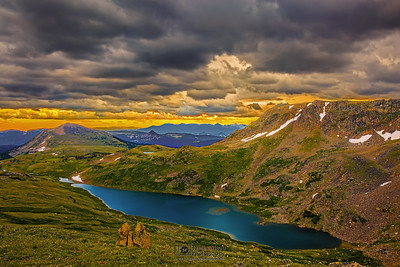 """Storms and Sunset,"" Sunset Storm over Gardener Lake, Beartooth Mountains, Shoshone National Forest, Wyoming"