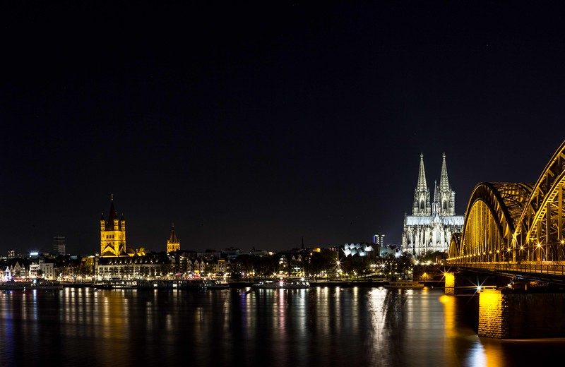 Cologne Skyline, Catheral and Train Bridge
