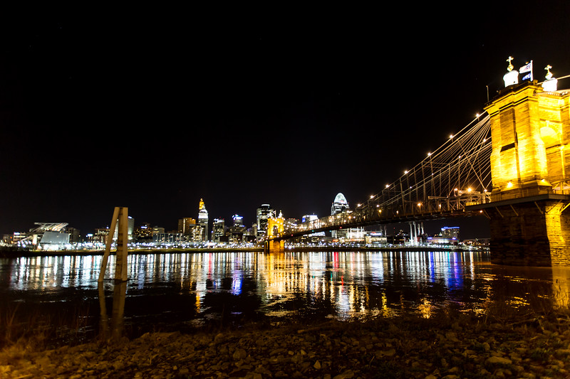 Roebling Bridge and Cincinnati Skyline