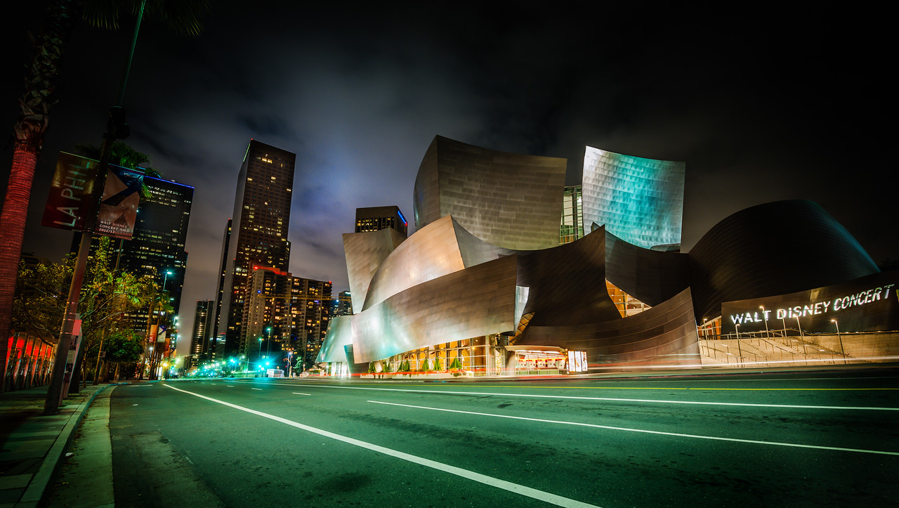 The Walt Disney Concert Hall I had a late night taking photos in downtown LA. I parked over near the Walt Disney Concert Hall and this was my final photo of the night as I was walking back to my car.It was one of those situations where I didn't feel like unfurling my camera again. You know when you're really tired and you're just ready to mail it in? That was me… but I saw this strange green light… and it looked a little like the green reflection off the hall… and then after that, I knew I had to go ahead and take a photo. I was happy to at that point.- Trey RatcliffClick here to read the entire post at the Stuck in Customs blog.
