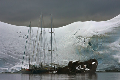 "Anchorage at Enterprise ""harbor,"" Antarctica.  Tied up to a 80 year old sunken ship."