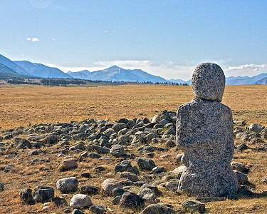 Ancient Stone monument to fallen warriors found all over the steppes of far NW Mongolia