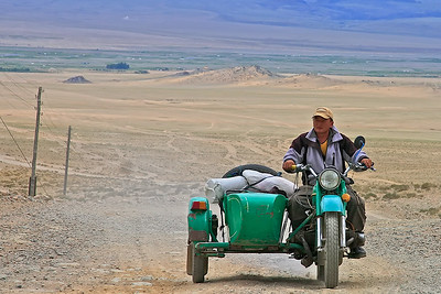 Motorcycles are predominant transportation in the countryside.  This is the highway from Khovd to Ulgii in NW Mongolia