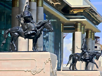 Ghengis Khan's Warriors Guard the Mongolian Parliament Building