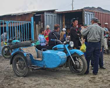 Discussion in the street, Ulgii, far NW Mongolia