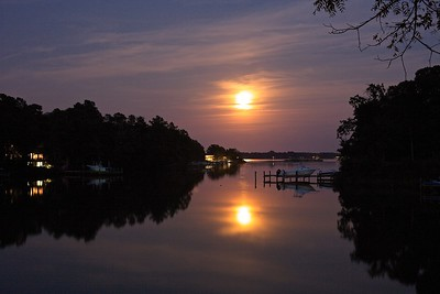 Moon glow at Lucky Break in the Northern Neck of Virginia