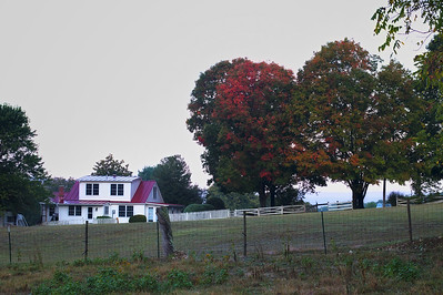 Farm House with fall colors in Luray, Virginia