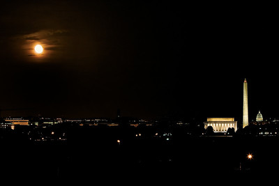 Washington DC at Night.  Lincoln Memorial, Washington Memorial, The Capital, and the Iwo Jima Memorial