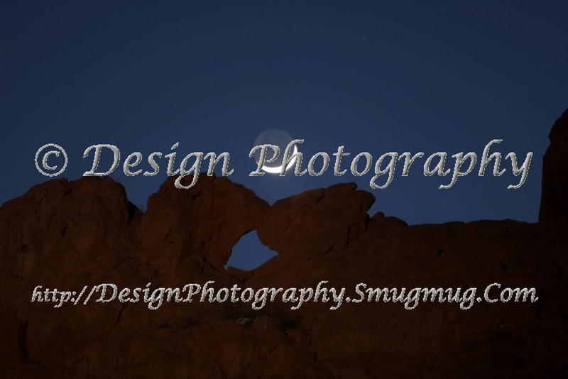 Moon over Kissing Camels in Garden of the Gods Park, Colorado Springs, Colorado