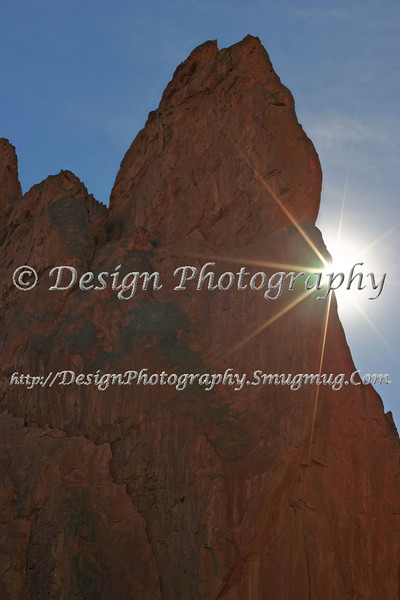 Sun Rays from behind South Gateway Rock, Colorado Springs, Colorado
