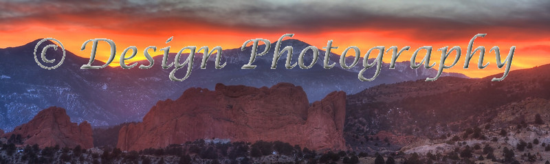 Garden of the Gods and Pikes Peak under a Rocky Mountains Sunset, Colorado Springs, Colorado