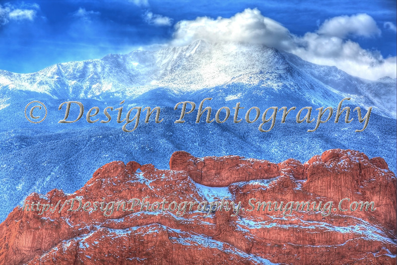 Kissing Camels in Garden of the Gods under Pikes Peak with freshly fallen snow, Colorado Springs, Colorado