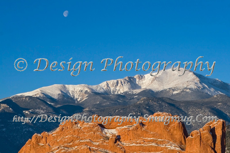 North Gateway Rock with Pikes Peak & Moon