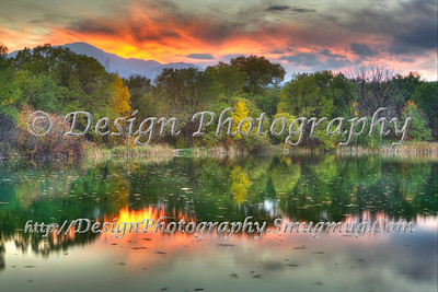 Pond Reflection at Sunset, Colorado Springs, Colorado