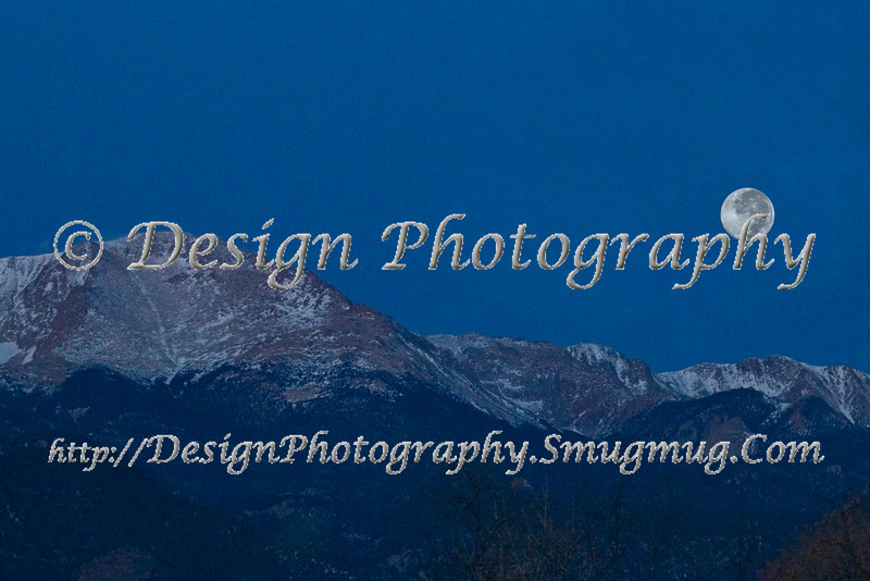 Pikes Peak with early morning Full Moon