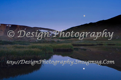Alpine Lake Reflecting the Moon on the Continental Divide