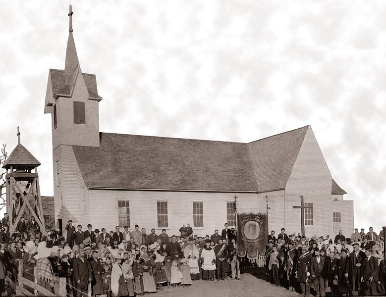 St. Mary Catholic Church, Original Wooden Church Built In 1878