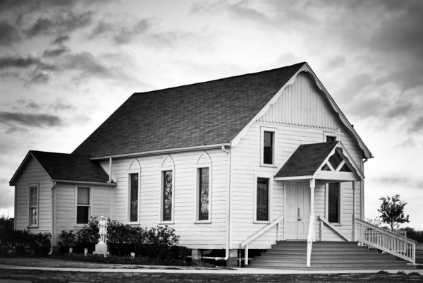 Black and white photo of the old St. Mary's Catholic Church in Hempstead, Texas that now resides on the grounds of St. Katherine Drexel church.  Photo taken January 18, 2010