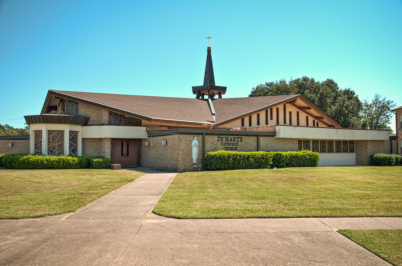 Exterior of the current St Mary Church in Bremond Texas