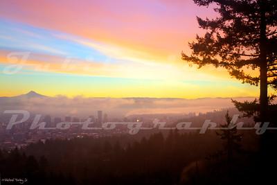 A foggy Portland morning.