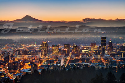 A view of downtown Portland from the Pittock Mansion.