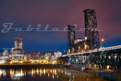 The Steel Bridge in downtown Portland, built in 1912.