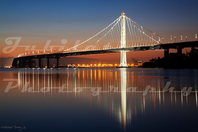 The monstrously over budget, ill designed new eastern span of the Bay Bridge, as seen from Treasure Island.