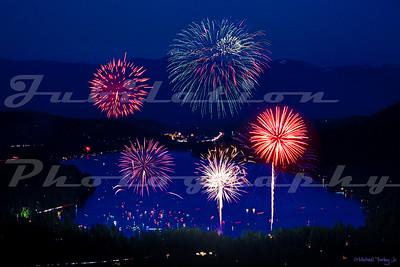 Fireworks over Donner Lake.