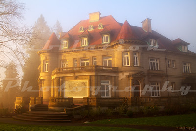 The Pittock Mansion in morning fog, Portland, OR.