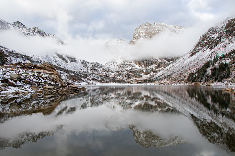 Clouds clearing at Isabelle Lake