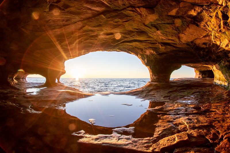Lake Superior Sea Caves at Sunset #2
