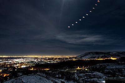 Super Wolf Blood Moon over Denver, CO
