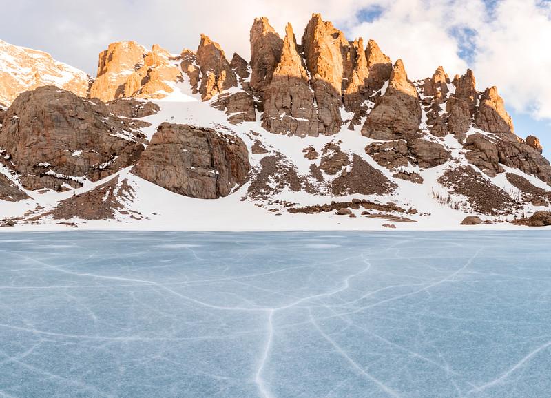 Sky Pond winter panorama