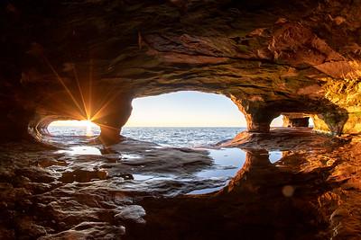 Lake Superior Sea Caves at sunset