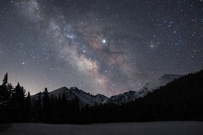 Longs Peak and Rocky Mountain National Park under the Milky Way