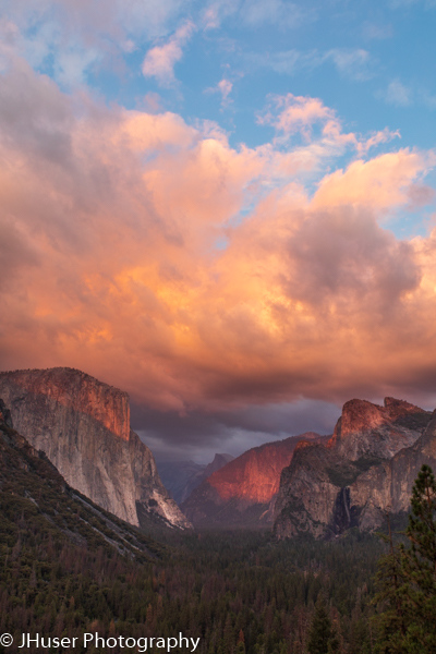 Vertical - Tunnel view of the Valley in Yosemite National Park at sunset